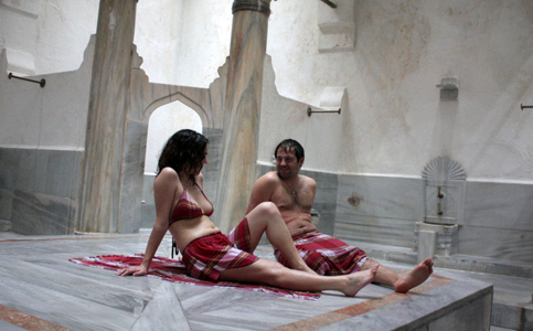 Sala Sauna principal de mármol del Hamam Suleymaniye