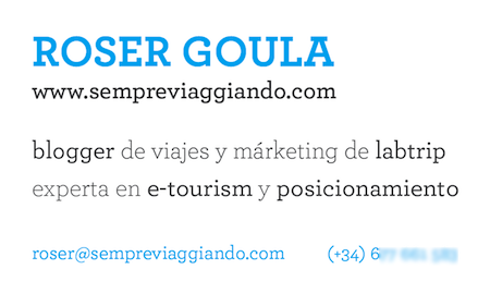 Business card blogger de viajes