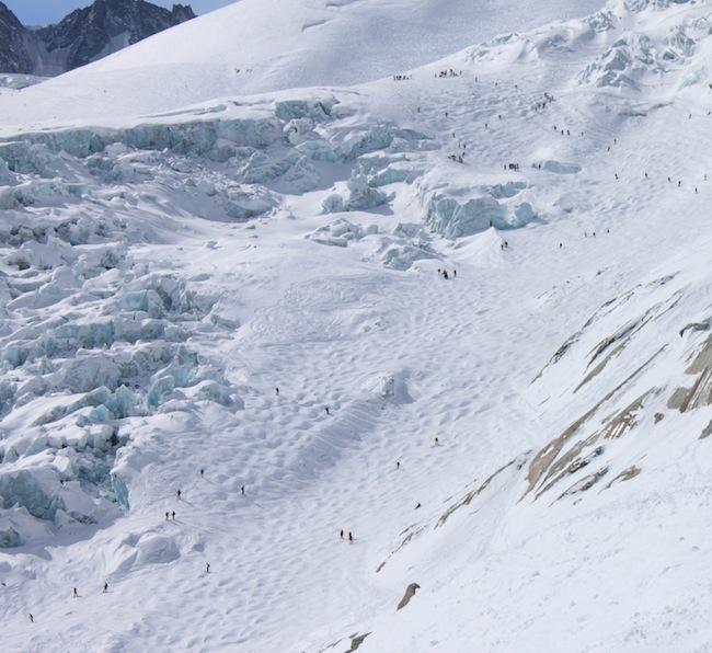 tramo dificil de la valle blanche montblanc